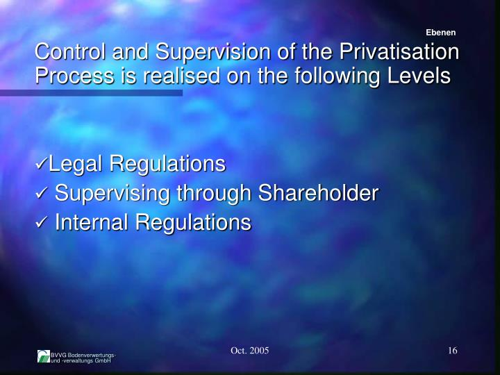 Control and Supervision of the Privatisation Process is realised on the following Levels