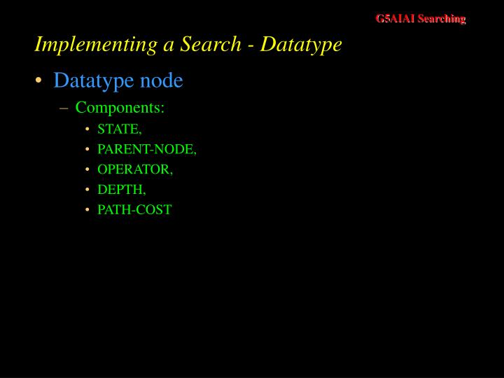 Implementing a Search - Datatype