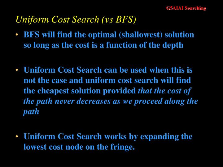 Uniform Cost Search (vs BFS)