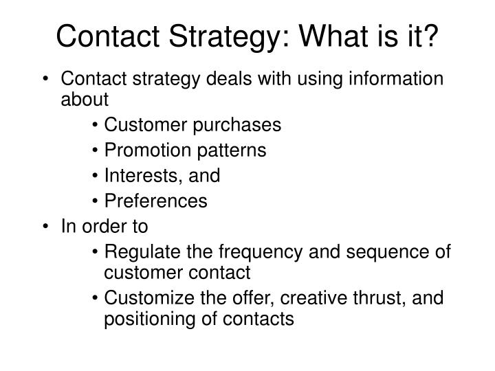 Contact Strategy: What is it?