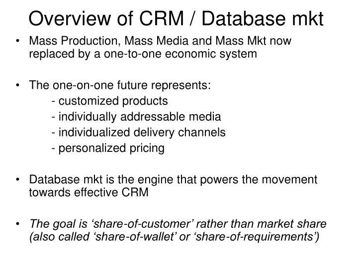 Overview of CRM / Database mkt