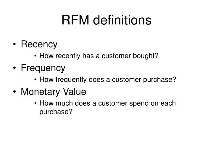 RFM definitions