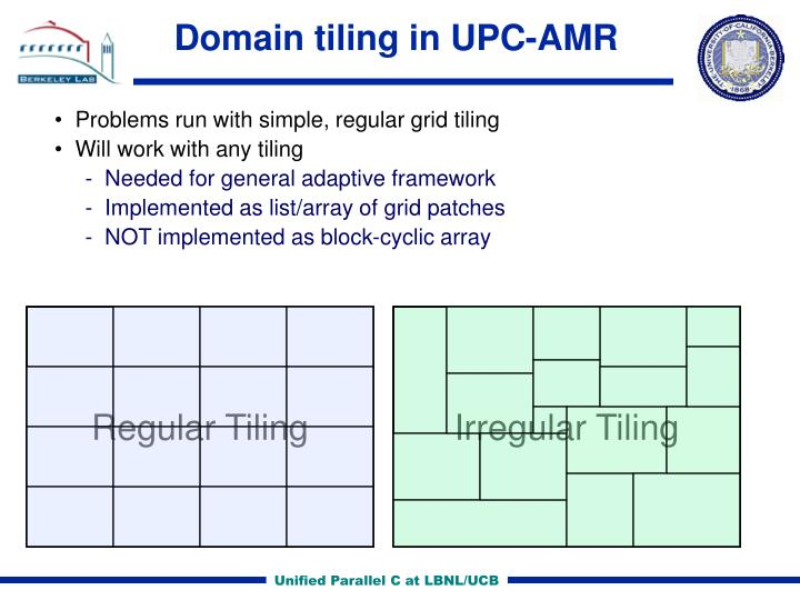 Domain tiling in UPC-AMR