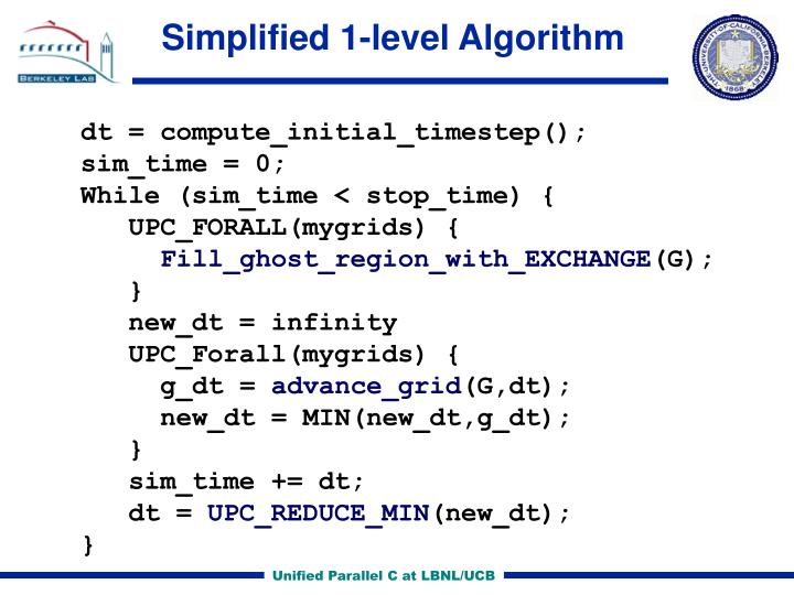 Simplified 1-level Algorithm