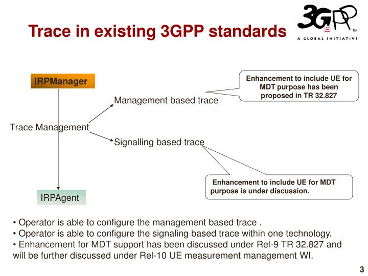 Trace in existing 3gpp standards