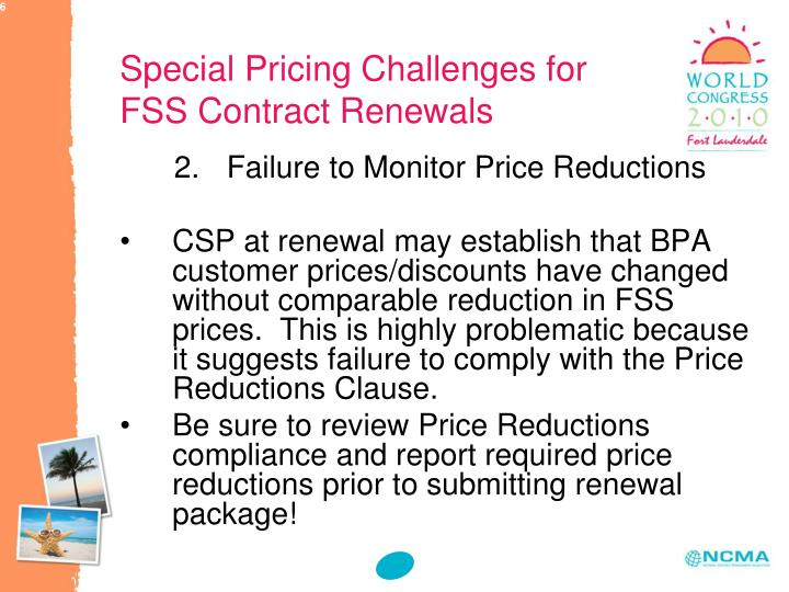 Special Pricing Challenges for FSS Contract Renewals