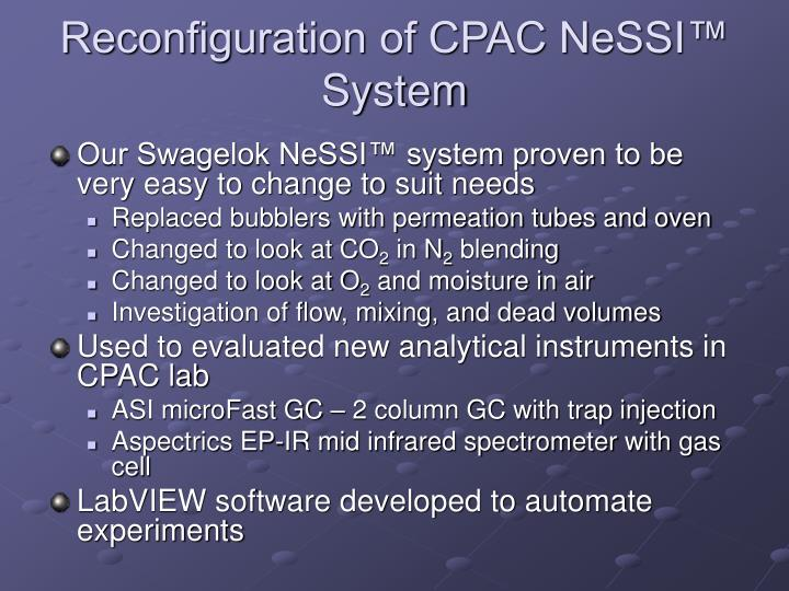 Reconfiguration of CPAC NeSSI™ System