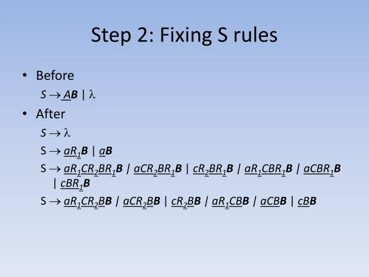 Step 2: Fixing S rules