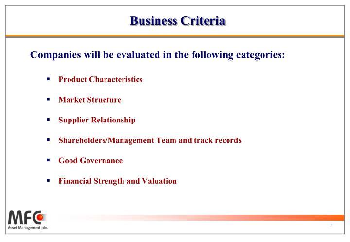 Business Criteria