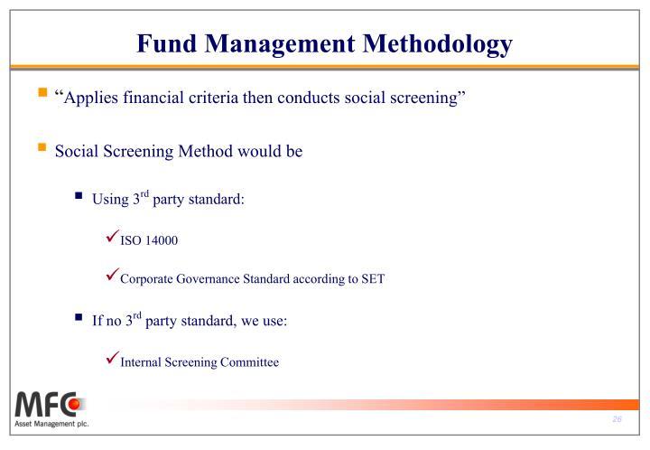 Fund Management Methodology
