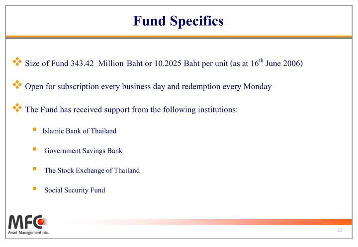 Fund Specifics