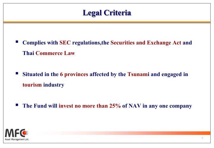Legal Criteria