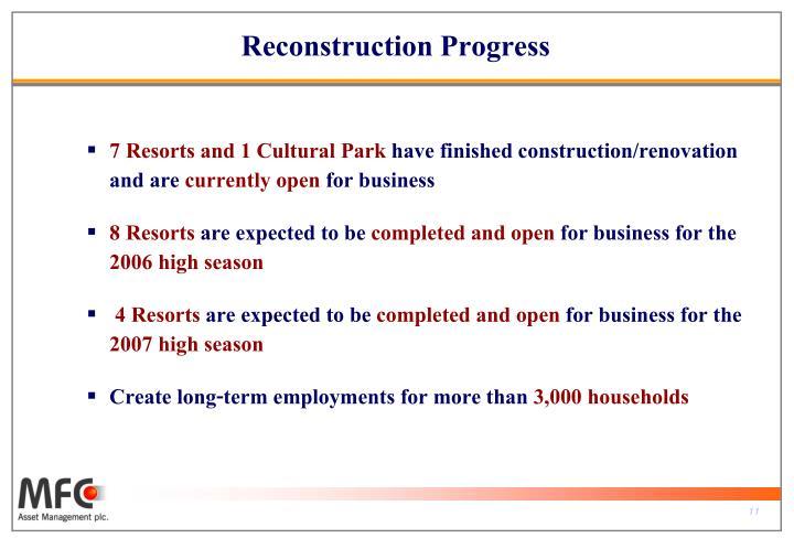 Reconstruction Progress