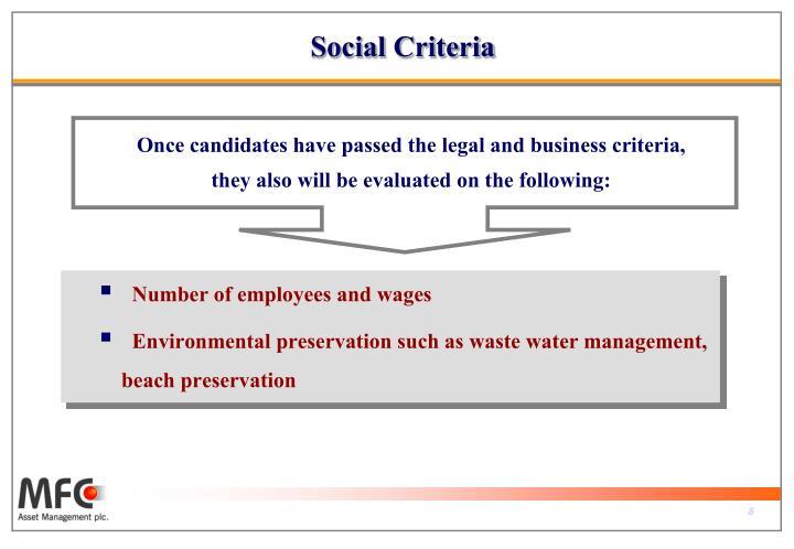 Social Criteria