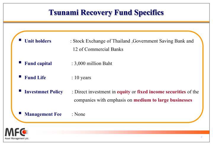 Tsunami Recovery Fund Specifics