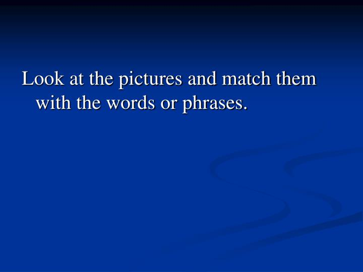 Look at the pictures and match them with the words or phrases.