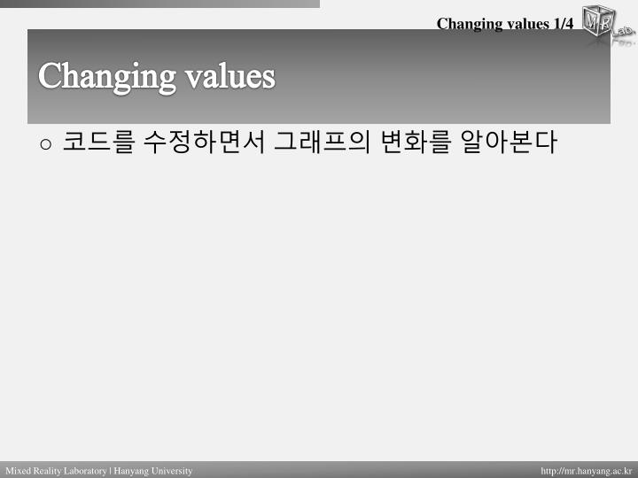 Changing values 1/4