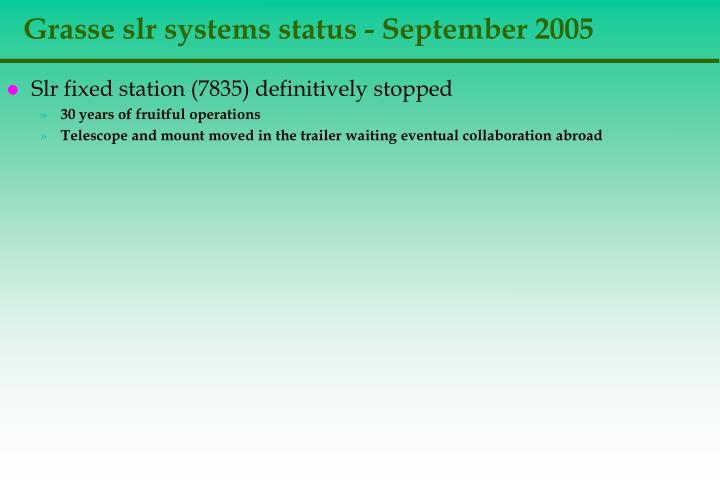grasse slr systems status september 2005