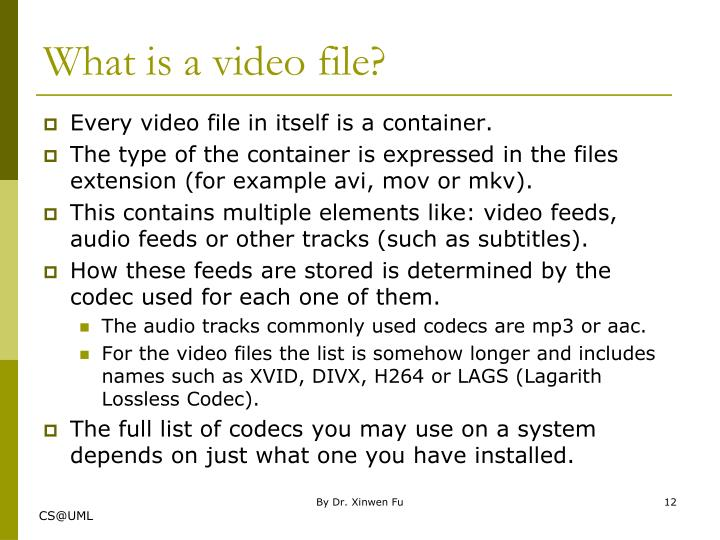 What is a video file?