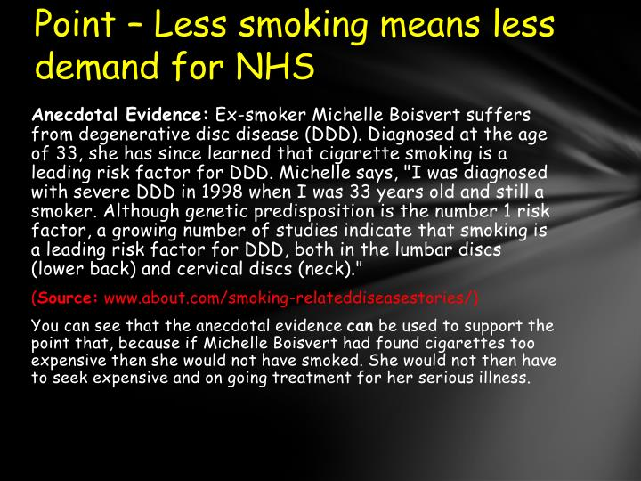 Point – Less smoking means less demand for NHS