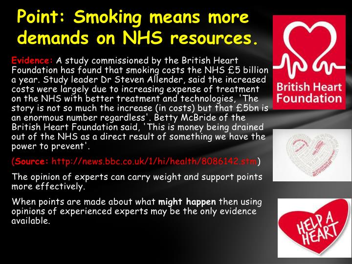 Point:Smoking means more demands on NHS resources.