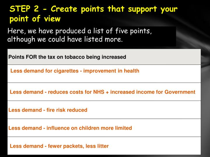 STEP2 - Create points that support your point of view