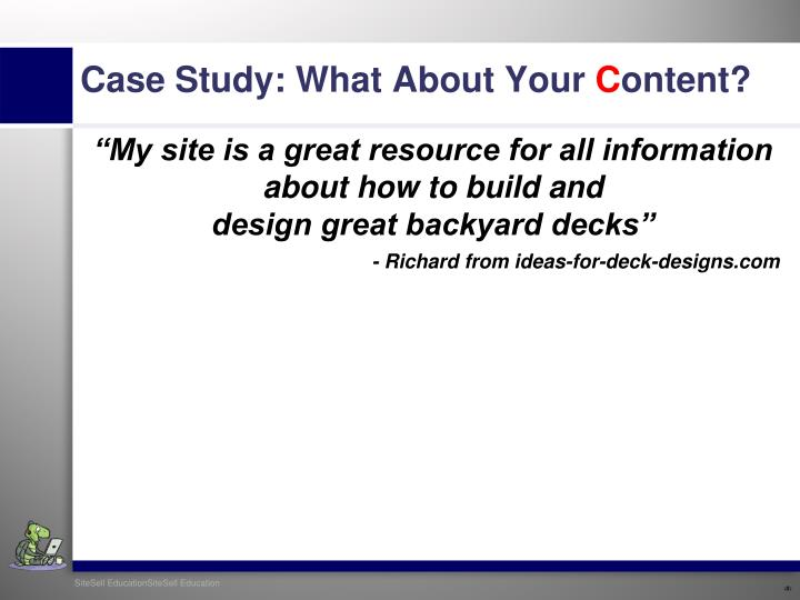 """""""My site is a great resource for all information"""