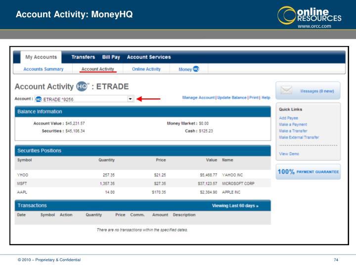 Account Activity: MoneyHQ