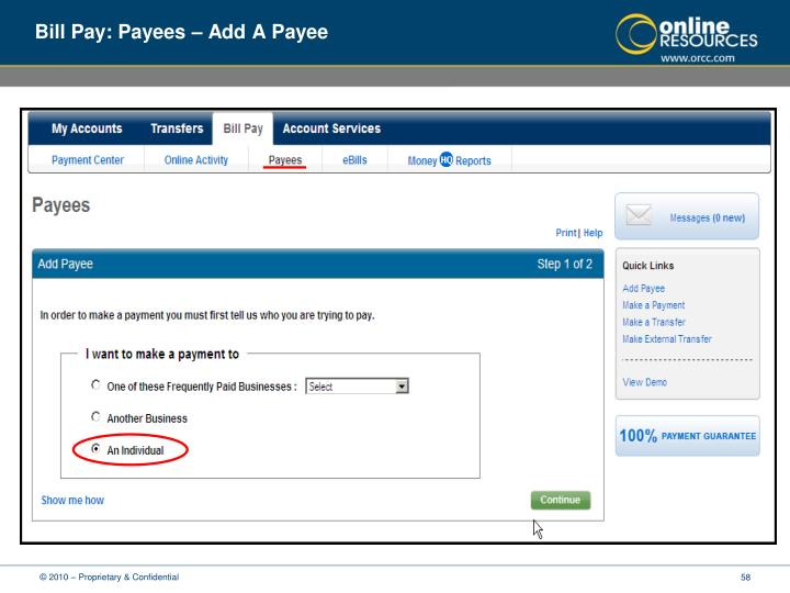 Bill Pay: Payees – Add A Payee