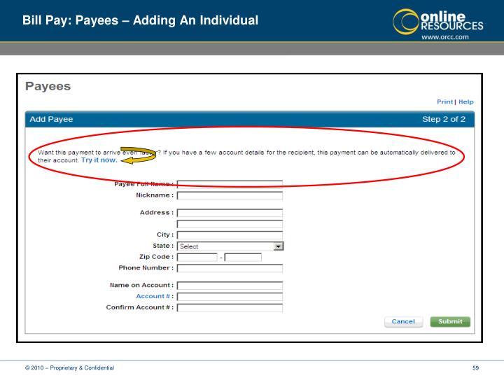 Bill Pay: Payees – Adding An Individual