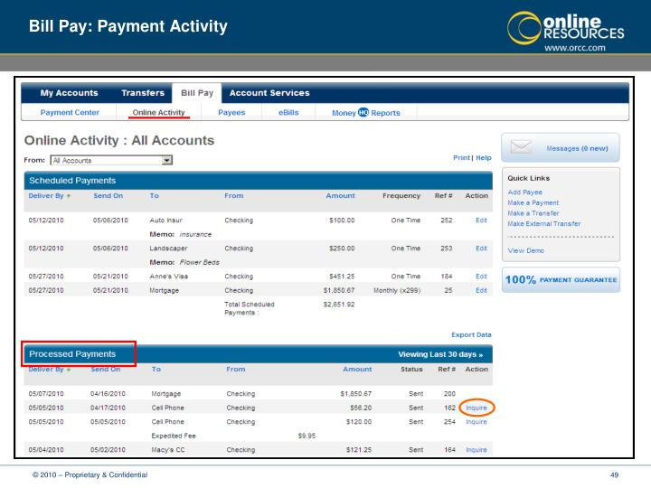 Bill Pay: Payment Activity