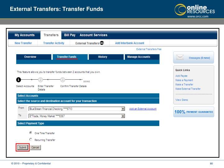 External Transfers: Transfer Funds