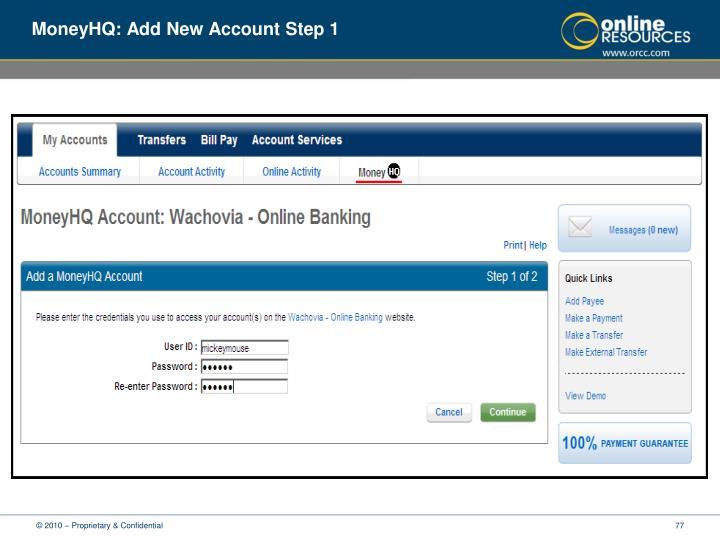 MoneyHQ: Add New Account Step 1