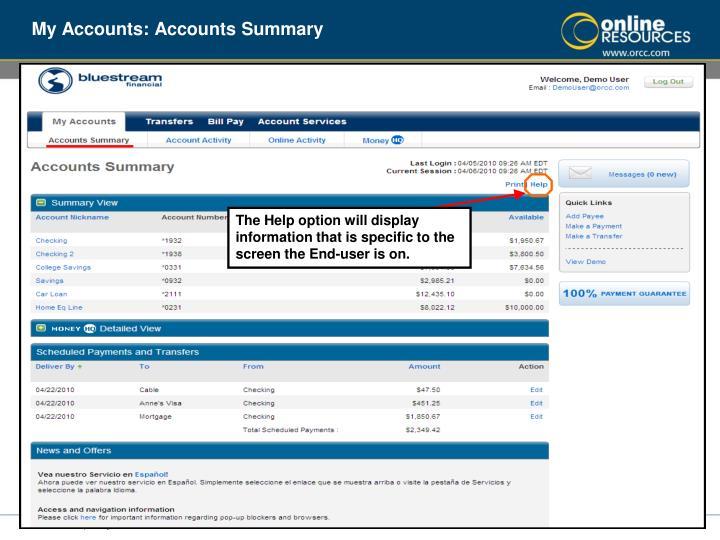 My Accounts: Accounts Summary