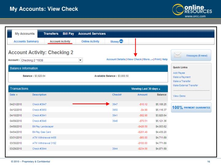 My Accounts: View Check