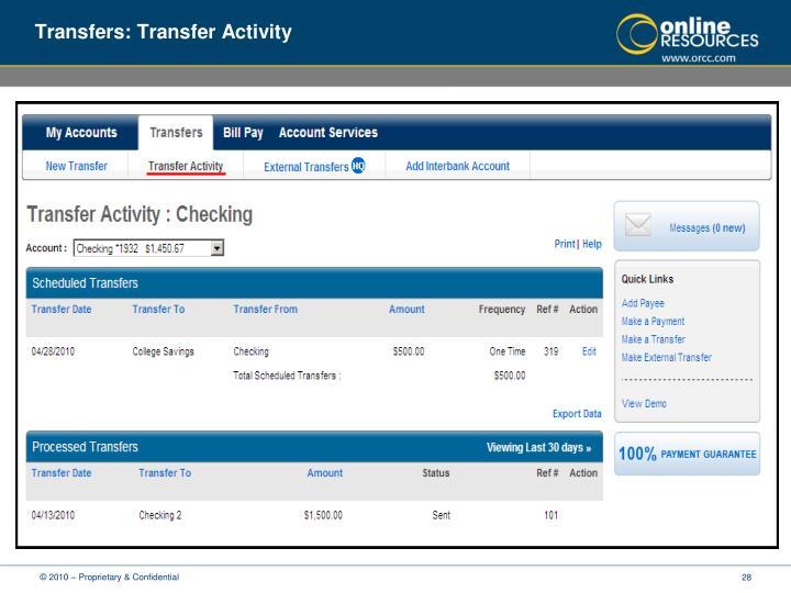 Transfers: Transfer Activity