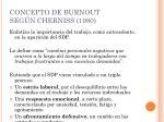 concepto de burnout seg n cherniss 1980