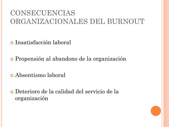 CONSECUENCIAS ORGANIZACIONALES DEL BURNOUT
