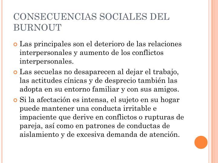 CONSECUENCIAS SOCIALES DEL BURNOUT