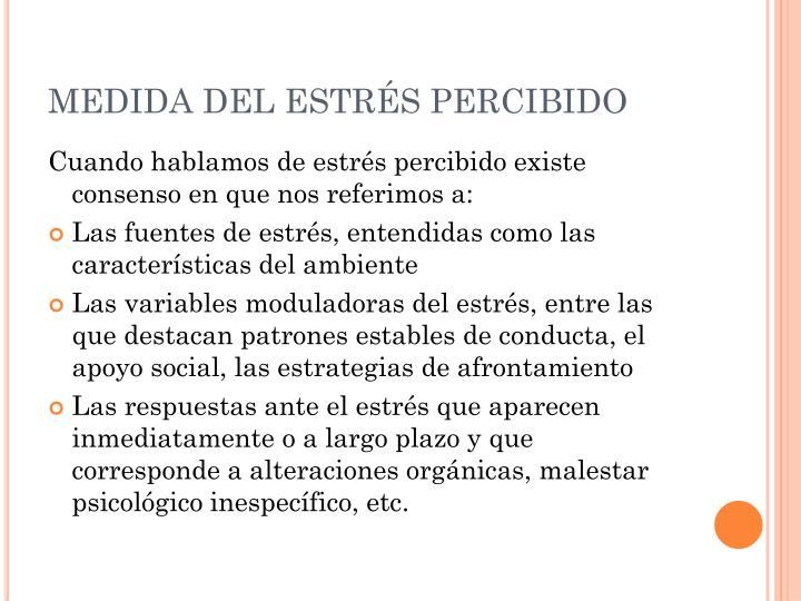 MEDIDA DEL ESTRÉS PERCIBIDO