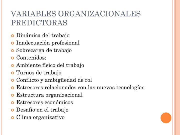 VARIABLES ORGANIZACIONALES PREDICTORAS