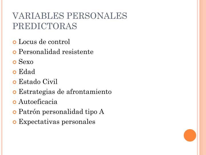 VARIABLES PERSONALES PREDICTORAS