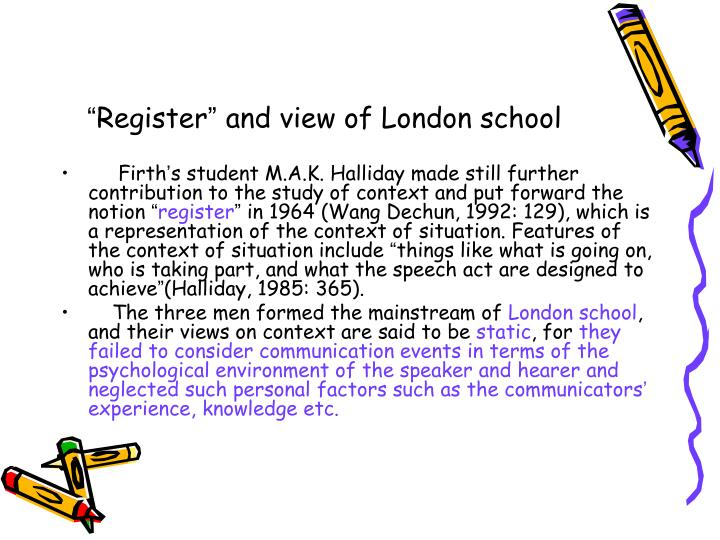 Register and view of london school
