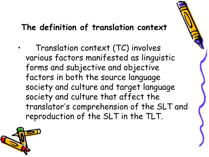 The definition of translation context