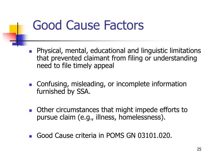 Good Cause Factors