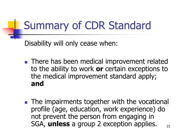 Summary of CDR Standard