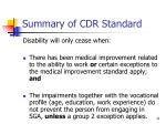 summary of cdr standard
