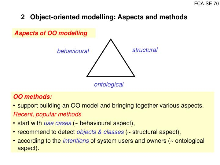 2Object-oriented modelling: Aspects and methods