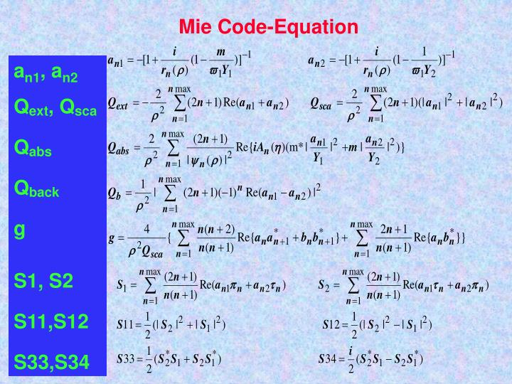 Mie Code-Equation