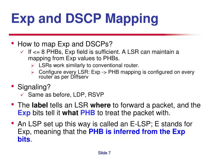 Exp and DSCP Mapping
